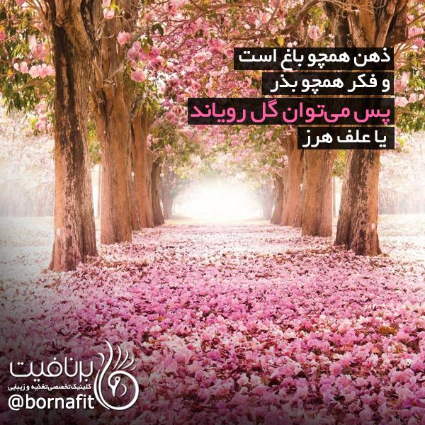 ذهن همچو باغ است و فکر همچو بذر، پس می توان گل رویاند و یا علف هرز