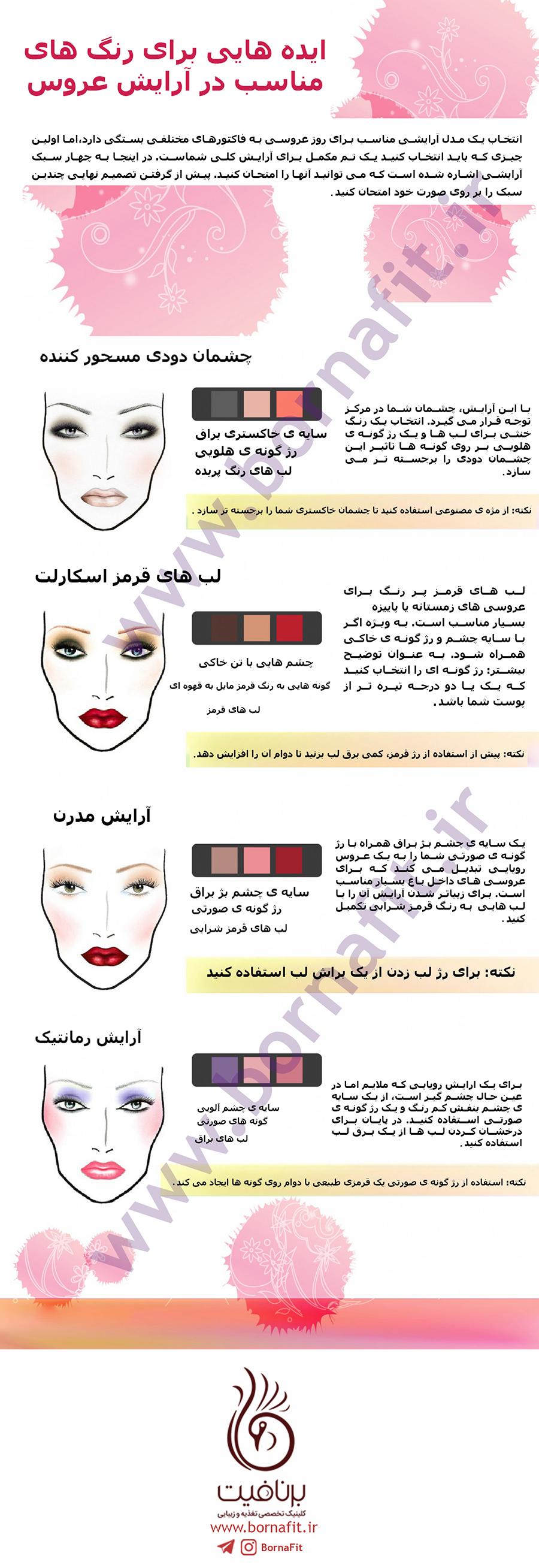 ایده هایی برای رنگ های مناسب در آرایش عروس