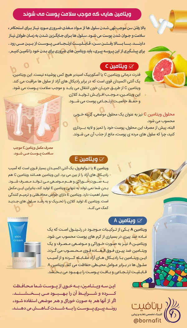 ویتامین هایی که موجب سلامت پوست می شوند - برنافیت دکتر کرمانی