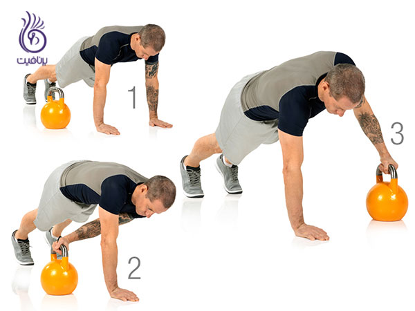 حرکات شکم- Dumbbell plank drag- برنافیت