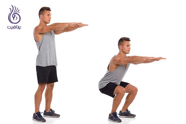 ورزش های آسان برای تنبل ها- اسکوات- برنافیت