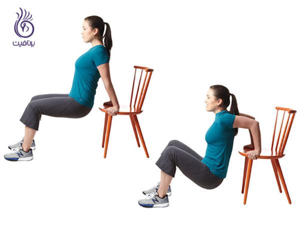 کاهش سایز بازو با ورزش- Tricep-dips- برنافیت