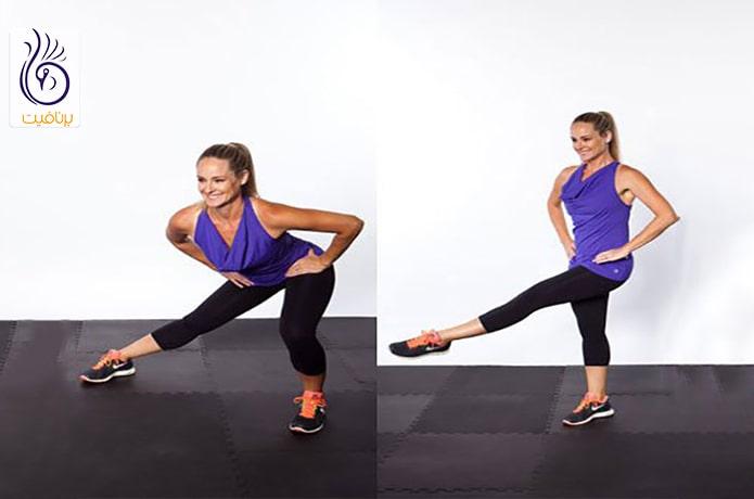 لاغری ران پا با حرکت Side Lunge Sweep
